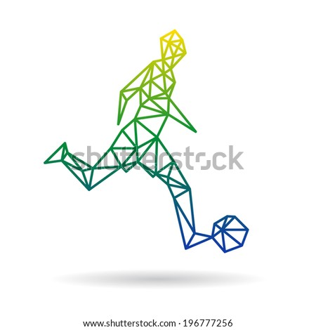 Football player abstract isolated on a white backgrounds, vector illustration