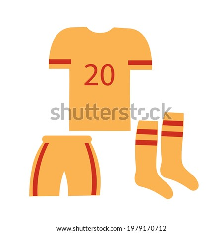 Football player clothing. T-shirt, balls and knee-highs are attributes of the clothes of the game of football. Design element. Vector flat illustration. Photo stock ©