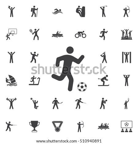 football player Icon Vector Illustration on the white background. Sport icons universal set for web and mobile