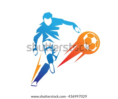 football player in action logo