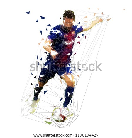 Football player in dark blue jersey kicking ball, abstract low poly vector drawing. Running soccer player. Isolated geometric colorful illustration, front view