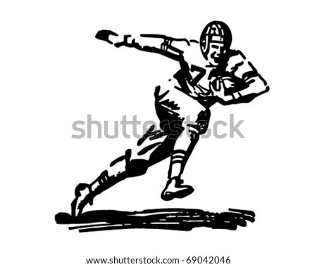 stock vector : Football Player Running With Ball - Retro Clipart Illustration