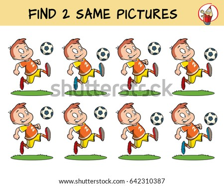 Football player running with the ball. Find two same pictures. Educational matching game for children. Cartoon vector illustration
