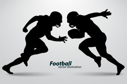 football player silhouette. Background and text on a separate layer, color can be changed in one click. Rugby. American football