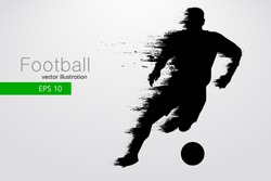 football player silhouette. Text and background on a separate layer, color can be changed in one click. Vector illustration