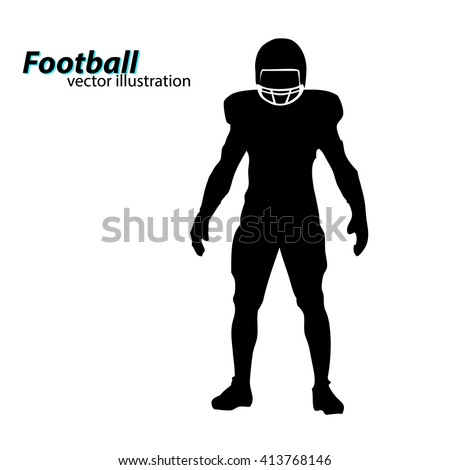 football player silhouette. Text on a separate layer, color can be changed in one click