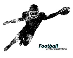 Football player silhouette. Text on a separate layer, color can be changed in one click. Rugby. American football