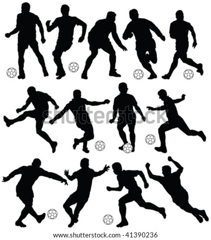 football player silhouettes - vector