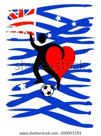 football player with a big heart kicking a ball with Australia\'s country colors