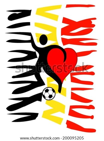 football player with a big heart kicking a ball with Belgium\'s country colors