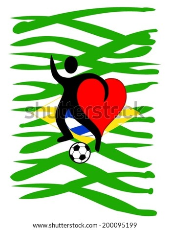 football player with a big heart kicking a ball with Brazil\'s country colors