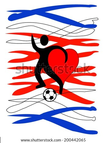 football player with a big heart kicking a ball with Costa Rica\'s country colors