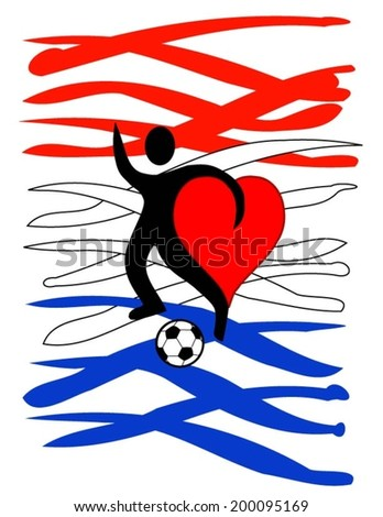 football player with a big heart kicking a ball with Holland\'s country colors