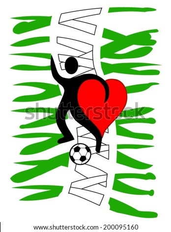 football player with a big heart kicking a ball with Nigeria\'s country colors