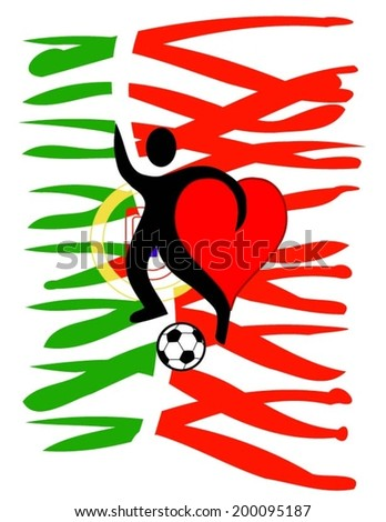 football player with a big heart kicking a ball with Portugal\'s country colors