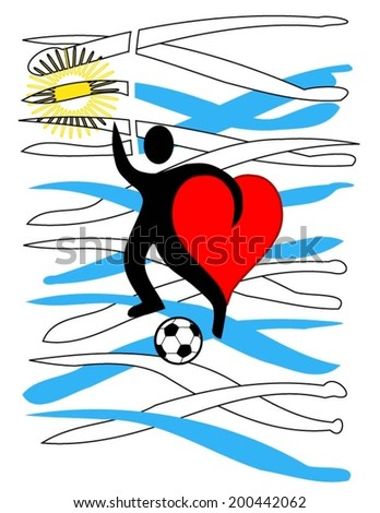 football player with a big heart kicking a ball with Uruguay\'s country colors