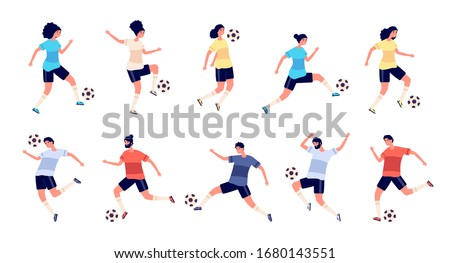 Football players. Soccer sportsman, people playing with ball. Athlete goal and kick, isolated sport action and workout vector illustration