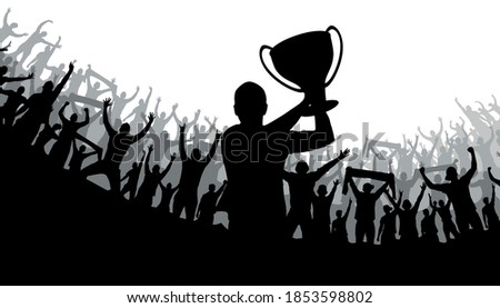 Football poster with the winning football team with the Cup in their hands and fans, vector illustration. Fans, a crowd of people. Stockfoto ©