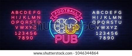 football pub neon sign. design...