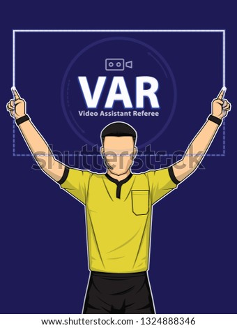 Football referee shows video assistant referees action on blue background. Vector illustration Imagine de stoc ©