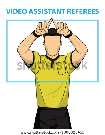 Football referee shows video assistant referees action. Vector illustration. Imagine de stoc ©