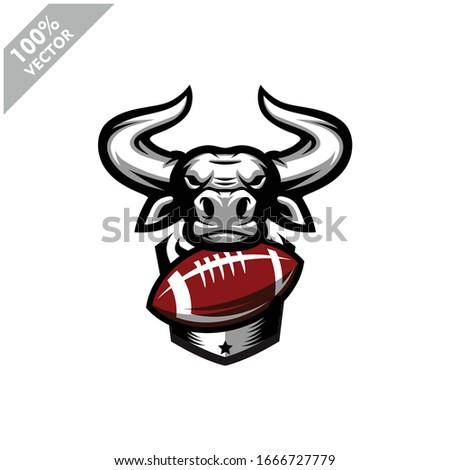 Football rugby Bull team logo design. Scalable and editable vector.