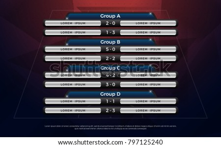 football scoreboard and global stats broadcast graphic soccer template, football score graphic for soccer group A, B, C, D