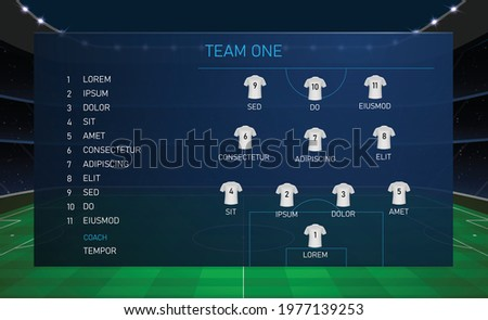 Football scoreboard broadcast graphic template with squad soccer team Stockfoto ©