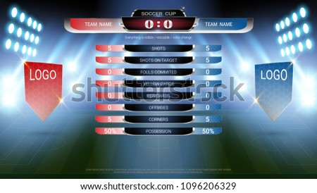 Football scoreboard team A vs team B and global stats broadcast graphic soccer template, For your presentation of the match results (EPS10 vector fully editable, resizable and color change)