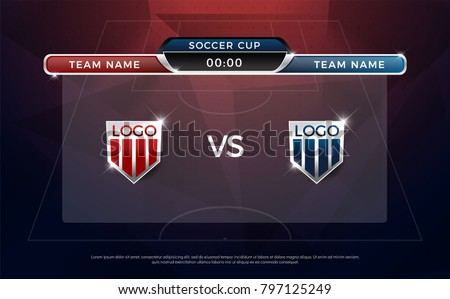 football scoreboard team A vs team B broadcast graphic soccer template, football score graphic for soccer game