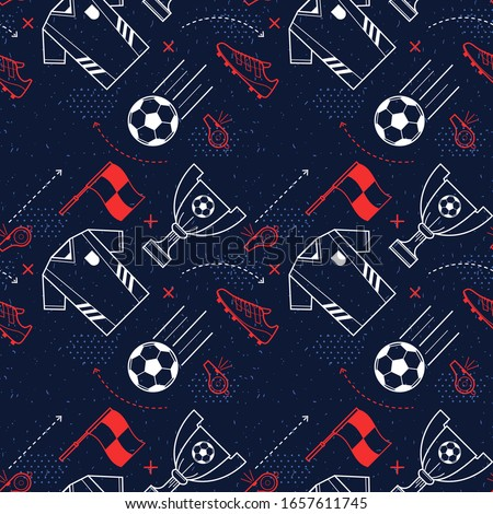 Football seamless pattern design of popular game vector illustration. Players uniform sneakers whistle flag and win cup flat style. Sport and soccer concept