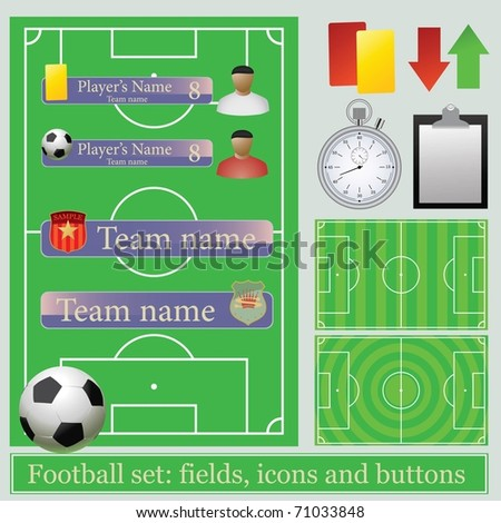 Football set: fields, icons and buttons