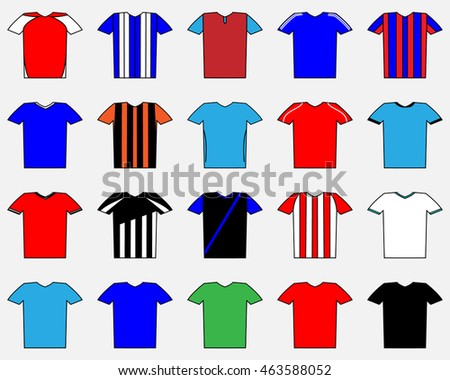 football shape. set of uniform. T-shirts