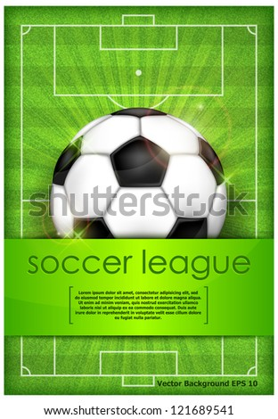 Football (soccer) ball on green field background and text, vector illustration