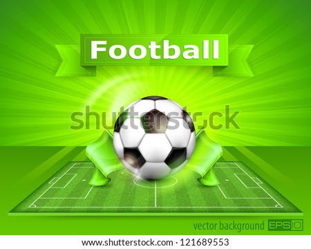 Football (soccer) field stadium with ball on green grass and text, vector illustration