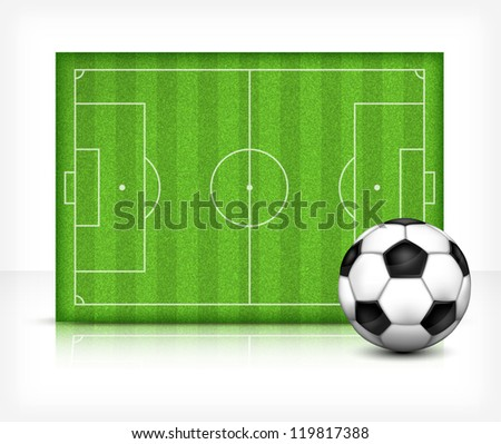 Football (soccer) field stadium with ball on green grass, vector illustration