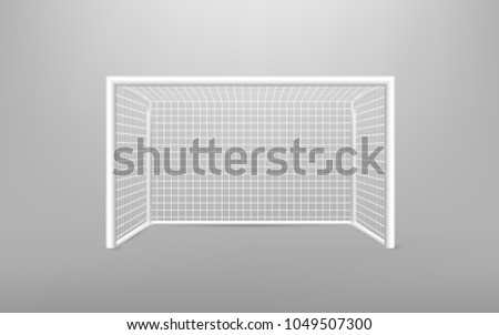 Football soccer goal realistic sports equipment.  Football goal with shadow. isolated on transparent background. Vector illustration. Eps 10.