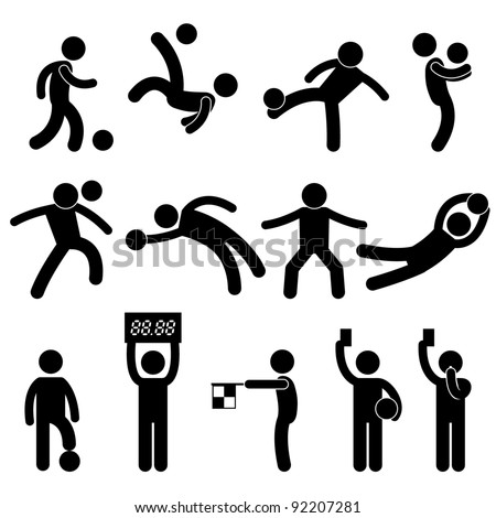 Football Soccer Goalkeeper Referee Linesman Icon Symbol Sign Pictogram - stock vector