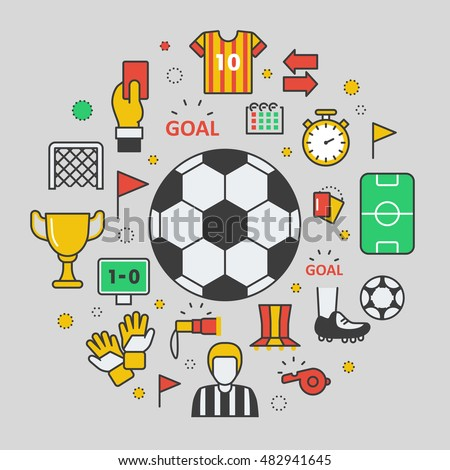 Football Soccer Line Art Thin Vector Icons Set with Ball and Sport Elements