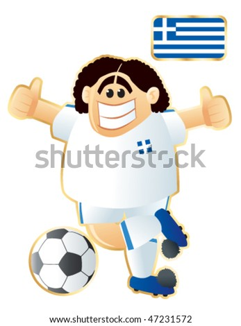 Football / soccer mascot Greece. Vector