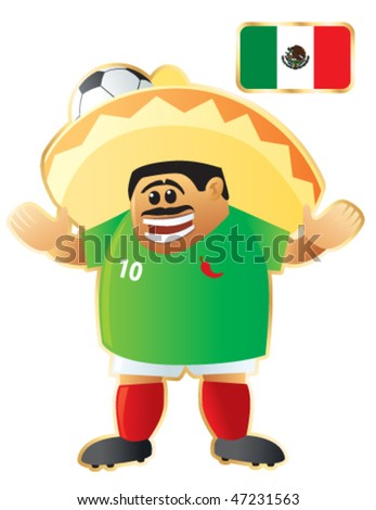 Football / soccer mascot Mexico. Vector