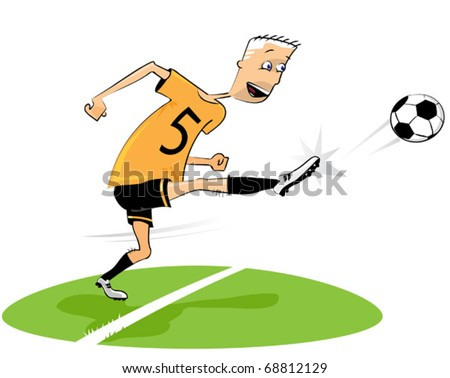 Football (soccer) player kicking the ball excitedly on the football ground.