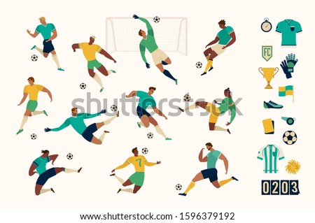 Football soccer player set of isolated characters and modern set of soccer and football icons. vector illustration