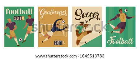 football soccer player set
