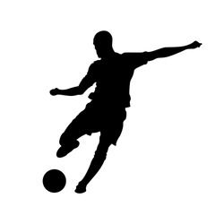 Football, soccer player silhouette with ball isolated. Isolated soccer player silhouette