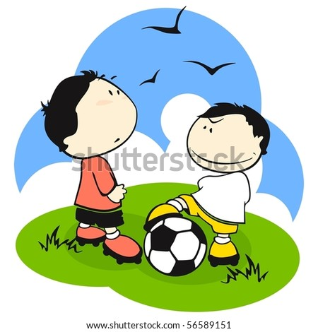 Football (soccer) players. Trick - stock vector