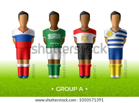 Football / soccer team players in the uniform of national flags for football championship in Russia 2018. Group A with footballers of Russia, Saudi Arabia, Egypt and Uruguay, vector illustration