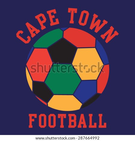 Football sport Cape town typography, t-shirt graphics, vectors