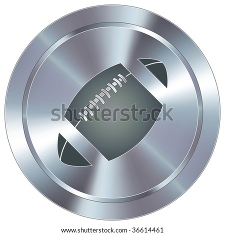 Football sport icon on round stainless steel modern industrial button