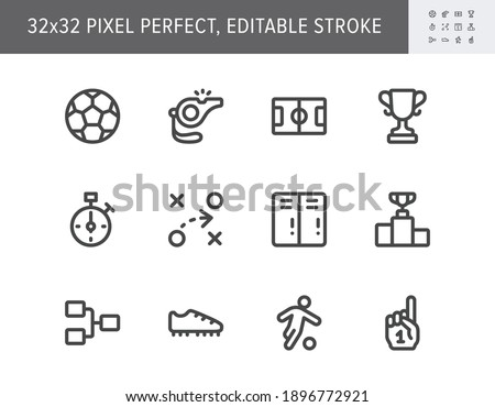 Football sport simple line icons. Vector illustration with minimal icon - soccer ball, scoreboard stopwatch, field, referee whistle, championship score, fan finger. 32x32 Pixel Perfect Editable Stroke